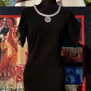 CHANEL BLACK SHORT FLUTTER SLEEVE DRESS